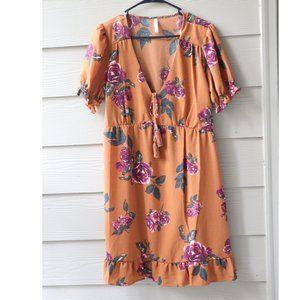 Xhilaration Brown Floral Loose Fit Dress